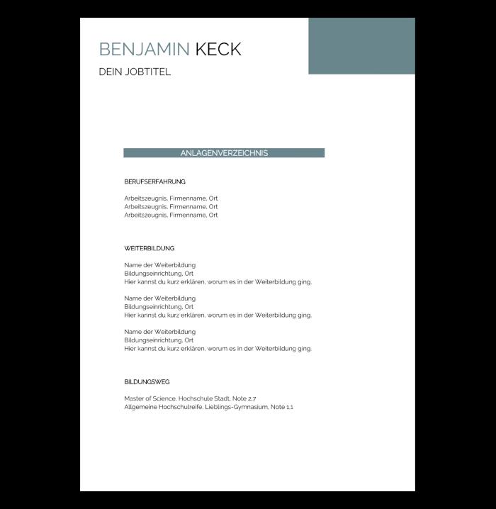 Professionelle Bewerbung Anlagenverzeichnis
