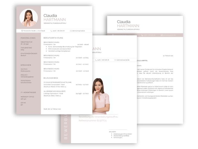 Professionelle Bewerbungsvorlage, Bewerbung schreiben Vorlage, Moderne Lebenslauf Vorlage rosa mit Lebenslauf, Anschreiben, Deckblatt