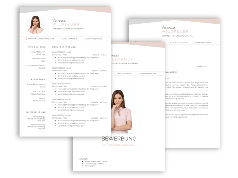 Professionelle Bewerbungsvorlage kreativ Vorlage mit Lebenslauf, Anschreiben, Deckblatt