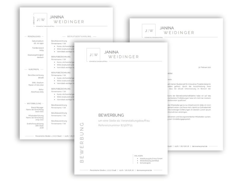 Professionelle Bewerbungsvorlage Lebenslauf ohne Foto Vorlage, Anschreiben, Deckblatt