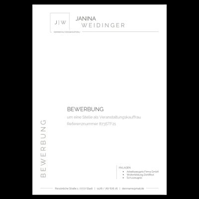 Professionelle Bewerbung Deckblatt ohne Foto Vorlage