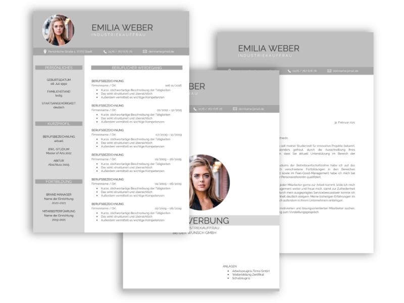 Professionelle Bewerbungsvorlage Vorlage Lebenslauf, Anschreiben, Deckblatt