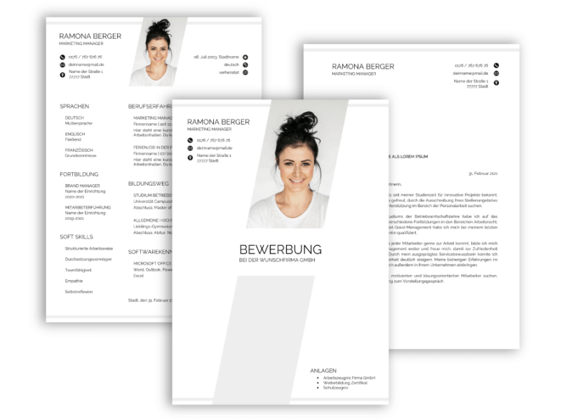Professionelle Bewerbungsvorlage Vorlage Lebenslauf modern, Anschreiben, Deckblatt
