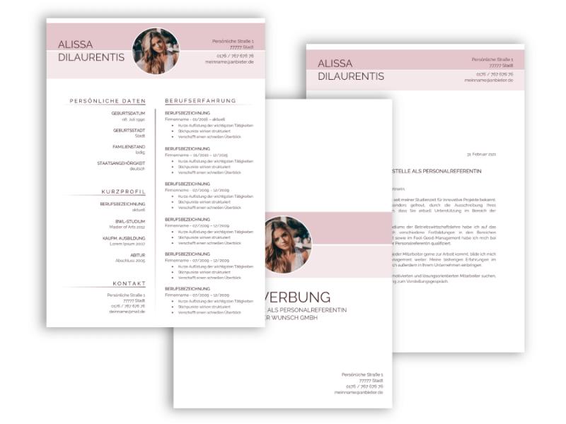 Feminine Bewerbungsvorlage Vorlage Lebenslauf, Anschreiben, Deckblatt